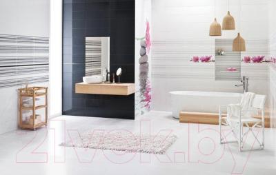 Декоративная плитка для ванной Ceramika Paradyz Abrila Kwiaty B (600x200)