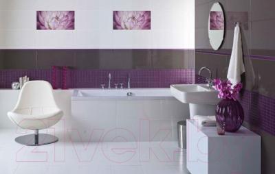 Декоративная плитка для ванной Ceramika Paradyz Sorenta Bianco Kwiaty A (600x300)