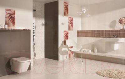 Бордюр для ванной Ceramika Paradyz Sorenta Bianco Kwiaty (600x70)