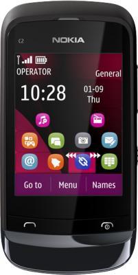 Мобильный телефон Nokia C2-02 Chrome Black - общий вид