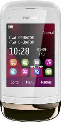 Мобильный телефон Nokia C2-02 Golden White - общий вид