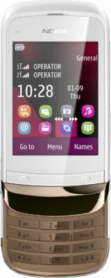 Мобильный телефон Nokia C2-02 Golden White - в раскрытом виде