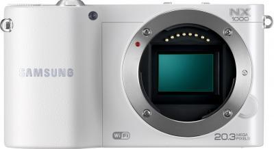 Беззеркальный фотоаппарат Samsung EV-NX1000 White (EV-NX1000BFWRU) - вид спереди без объектива