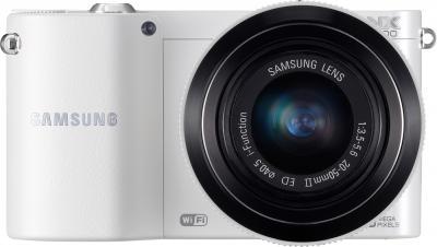 Беззеркальный фотоаппарат Samsung EV-NX1000 White (EV-NX1000BFWRU) - вид спереди