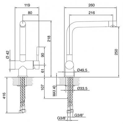 Смеситель Smeg MF22-CR - схема встраивания