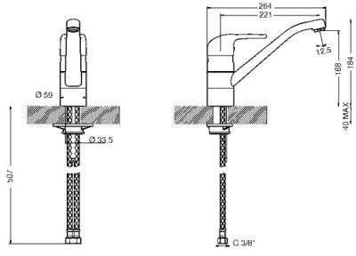 Смеситель Smeg MF9-CR - схема встраивания