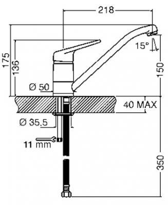 Смеситель Smeg MF11CR2 - схема встраивания