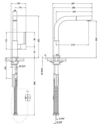 Смеситель Smeg MDQ5-IS - схема встраивания