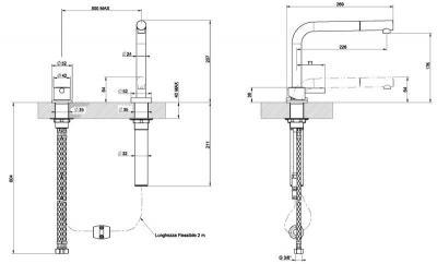 Смеситель Smeg ME5CR - схема встраивания