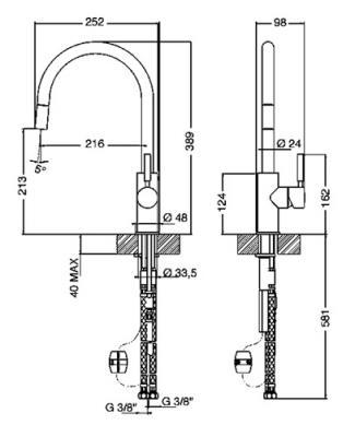 Смеситель Smeg MD13-CR - схема встраивания
