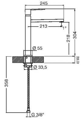 Смеситель Smeg MFQ8-CR - схема встраивания