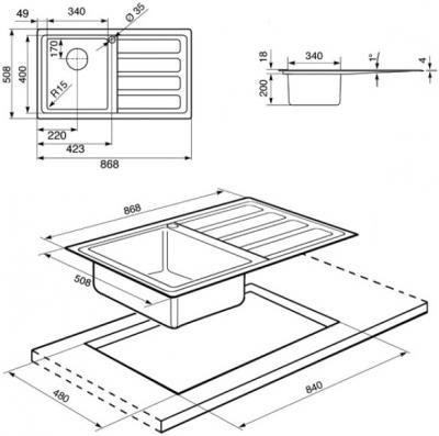Мойка кухонная Smeg LD861D - схема