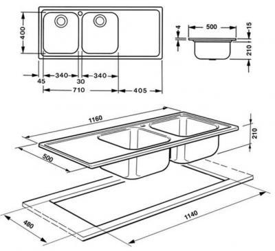 Мойка кухонная Smeg LL116S - схема