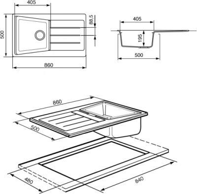 Мойка кухонная Smeg LS861RA - схема встраивания