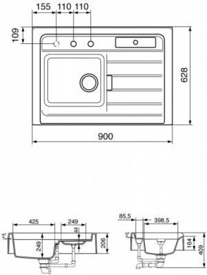 Мойка кухонная Smeg LC90B - схема