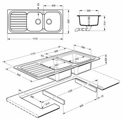Мойка кухонная Smeg LS116B - схема