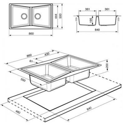 Мойка кухонная Smeg LS862P2 - схема встраивания
