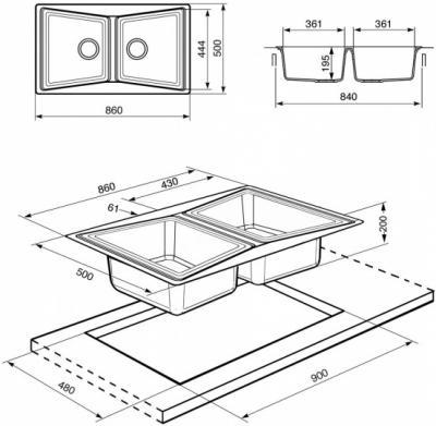 Мойка кухонная Smeg LS862T - схема