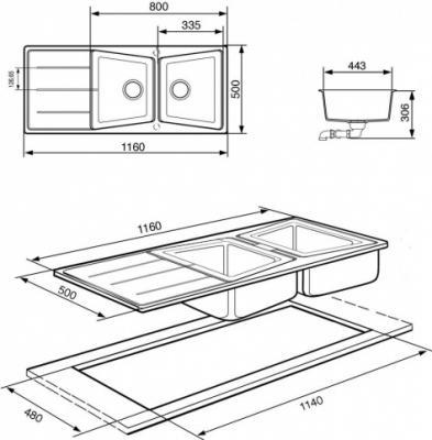 Мойка кухонная Smeg LS116T - схема