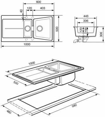 Мойка кухонная Smeg LC102N - схема