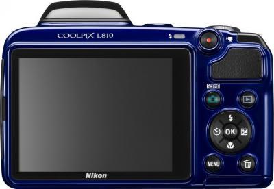 Компактный фотоаппарат Nikon COOLPIX L810 Blue - вид сзади