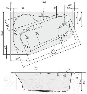 Ванна акриловая Sanplast WAP/AS 100x150