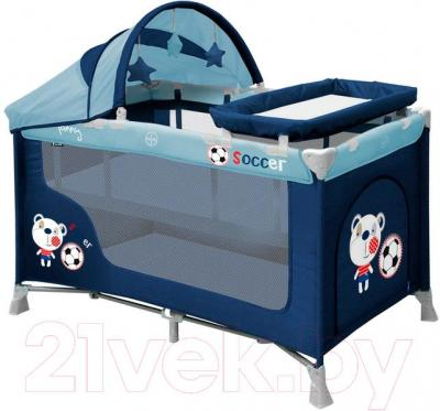 Кровать-манеж Lorelli Nanny 2 Rocker + (Blue Soccer)