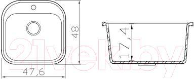 Мойка кухонная Fosto КМ 48-49 (бискотти) - схема