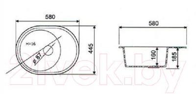 Мойка кухонная Fosto КМ 58-45 (обсидиан)