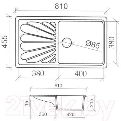 Мойка кухонная Fosto КМ 81-46 (искристый серый)