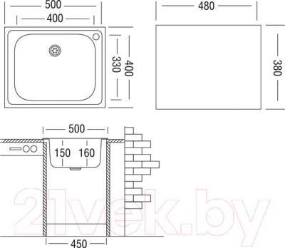 Мойка кухонная Ukinox CLM500.400-T5C 2C - схема