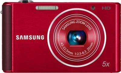 Компактный фотоаппарат Samsung ST76 (EC-ST76ZZFPRRU) Red - вид спереди