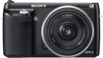 Беззеркальный фотоаппарат Sony Alpha NEX-F3D Black - вид спереди