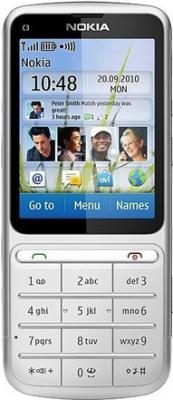 Мобильный телефон Nokia C3-01.5 Silver - вид спереди