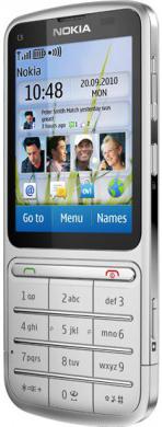 Мобильный телефон Nokia C3-01.5 Silver - вид сбоку