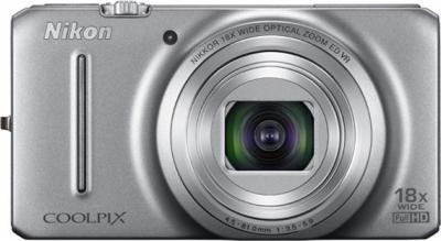 Компактный фотоаппарат Nikon COOLPIX S9200 Silver - вид спереди