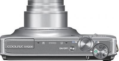 Компактный фотоаппарат Nikon COOLPIX S9200 Silver - вид сверху
