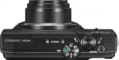 Компактный фотоаппарат Nikon Coolpix S8200 Black - вид сверху