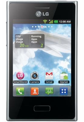 Смартфон LG Optimus L3 / E400 (черный) - спереди
