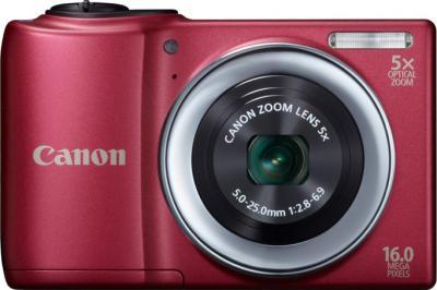 Компактный фотоаппарат Canon PowerShot A810 Red - вид спереди