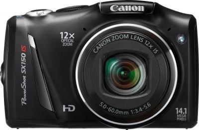 Компактный фотоаппарат Canon PowerShot SX150 IS Black - вид спереди