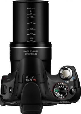Компактный фотоаппарат Canon PowerShot SX40 HS Black - вид сверху