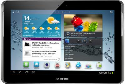 Планшет Samsung Galaxy Tab 2 10.1 32GB 3G Titanium Silver (GT-P5100TSESER) - фронтальный вид