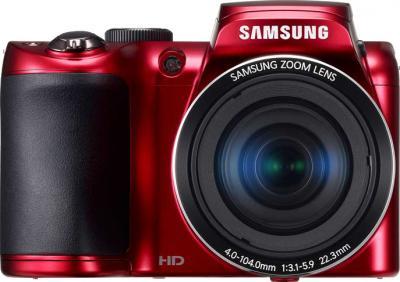 Компактный фотоаппарат Samsung WB100 (EC-WB100ZBARRU) Red - вид спереди