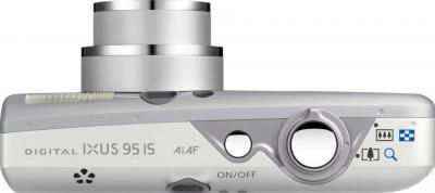 Компактный фотоаппарат Canon Digital IXUS 95 IS (PowerShot SD1200 IS) Silver - вид сверху