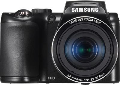 Компактный фотоаппарат Samsung WB100 (EC-WB100ZBABRU) Black - вид спереди