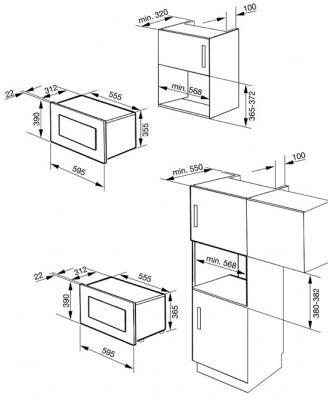 Микроволновка Smeg MP122 - схема встраивания