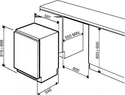 Морозильник Smeg VI100P - схема встраивания