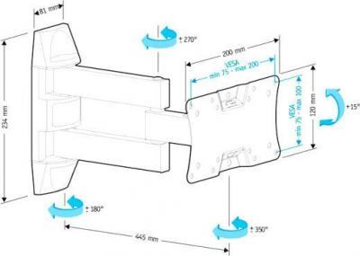 Кронштейн для телевизора Holder LCDS-5065 (черный глянец) - схема