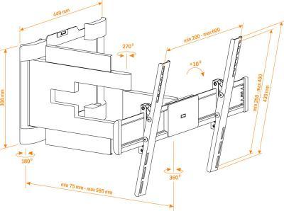 Кронштейн для телевизора Holder LEDS-7025 (черный) - схематическое изображение